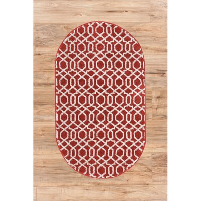 Sydney Geo Helix Red Area Rug Rug Size: Oval 27 x 42