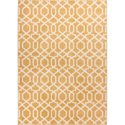 Sydney Geo Helix Gold Area Rug Rug Size: Oval 27 x 42