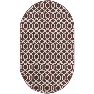 Sydney Geo Helix Brown Area Rug Rug Size: Oval 27 x 42