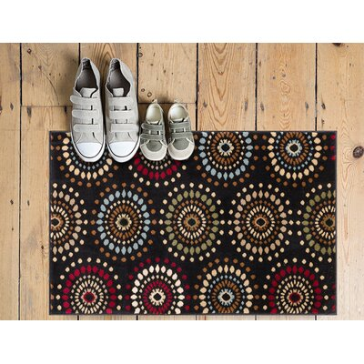 Barclay Orchid Black Fields Dots Area Rug Rug Size: 23 x 311