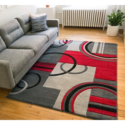 Galaxy Wave Gray/Red Area Rug