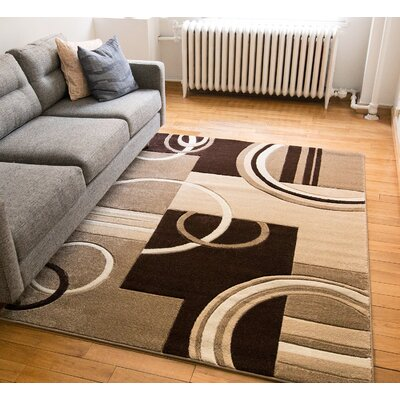 Galaxy Wave Ivory/Brown Area Rug