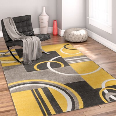 Galaxy Wave Gold/Gray Area Rug Rug Size: 67 x 93