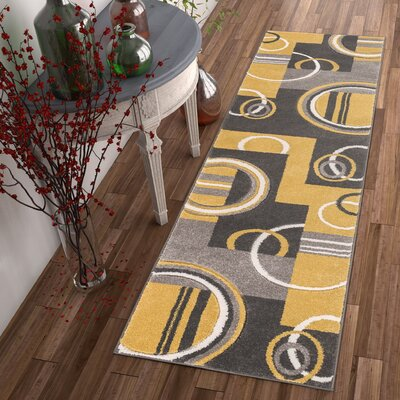 Galaxy Wave Gold/Gray Area Rug Rug Size: Runner 2 x 7