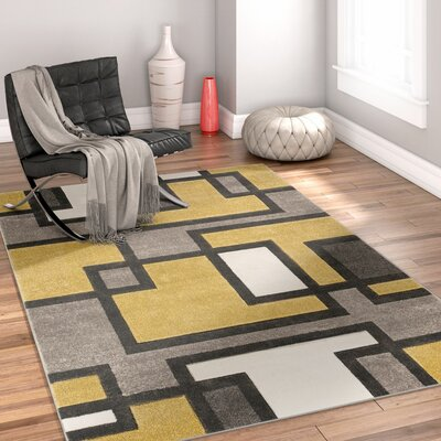 Imagination Square Gold/Gray Area Rug Rug Size: Round 53