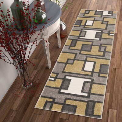 Imagination Square Gold/Gray Area Rug Rug Size: Runner 2 x 7