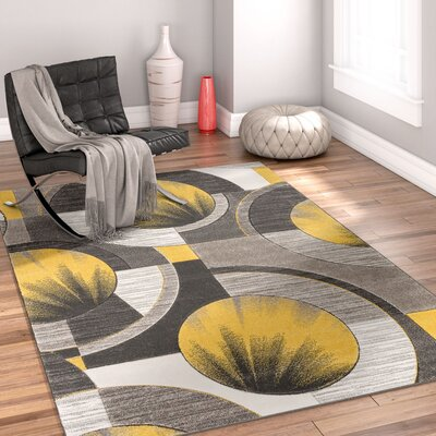 Yolo Gold/Gray Area Rug Rug Size: Runner 2 x 7