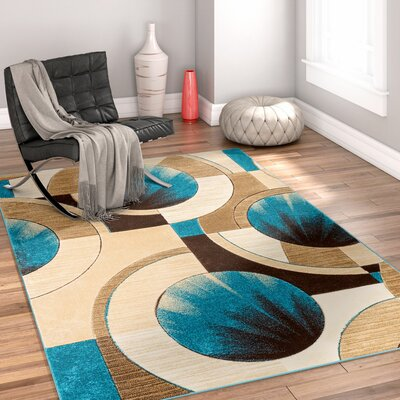 Yolo Blue/Ivory Area Rug Rug Size: Rectangle 53 x 73