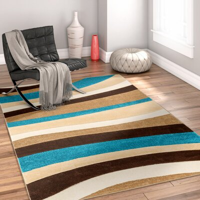 Rad Wave Blue/Brown Area Rug Rug Size: 53 x 73