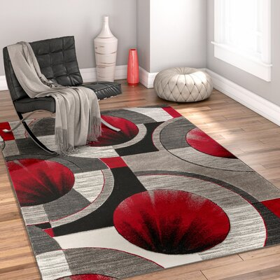 Yolo Red/Gray Area Rug Rug Size: 53 x 73