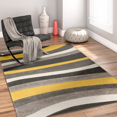 Rad Wave Gold/Gray Area Rug Rug Size: 67 x 93