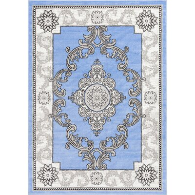 Ash Yonderhill Traditional Blue Indoor Area Rug Rug Size: 93 x 126