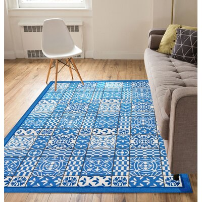 Petrillo Blue Area Rug Rug Size: Runner 27 x 12