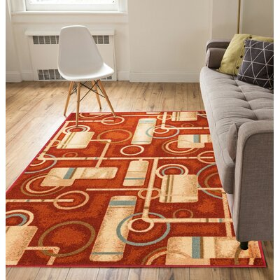 Covey Prescott Red Indoor/Outdoor Area Rug Rug Size: Rectangle 5 x 7