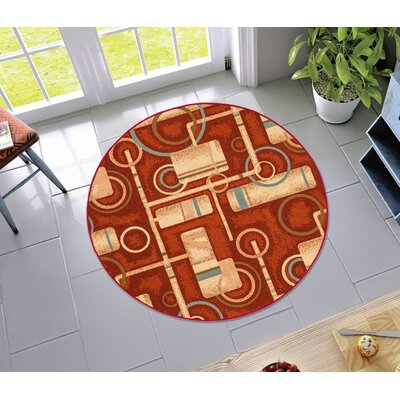Covey Prescott Red Indoor/Outdoor Area Rug Rug Size: Round 43
