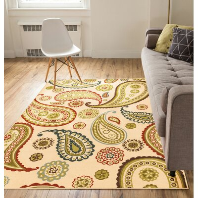Kings Court Flora Paisley Ivory Indoor/Outdoor Area Rug Rug Size: 5 x 7