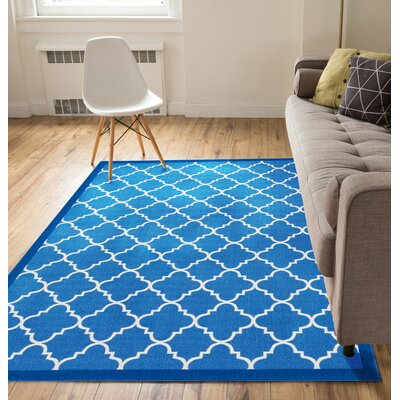 Kings Court Brooklyn Trellis Lattice Blue Indoor/Outdoor Area Rug Rug Size: 710 x 910