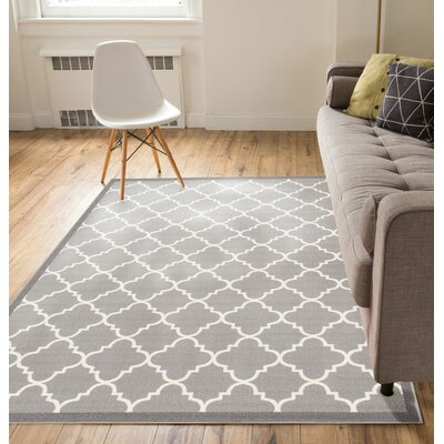 Hansa Trellis Lattice Gray Indoor Area Rug Rug Size: 710 x 910