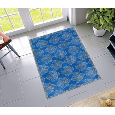 Kings Court Greek Key Damask Blue Indoor/Outdoor Area Rug Rug Size: 33 x 47
