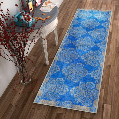 Kings Court Greek Key Damask Blue Indoor/Outdoor Area Rug Rug Size: Runner 27 x 12