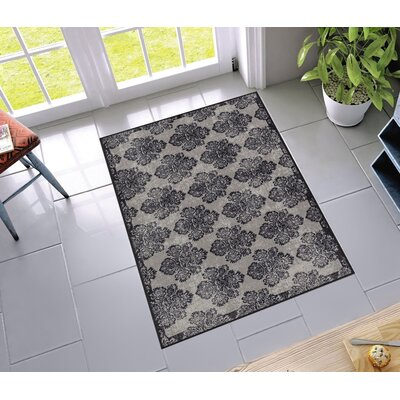 Petrillo Greek Key Damask Gray Indoor/Outdoor Area Rug Rug Size: 33 x 47