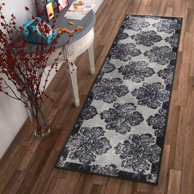 Kings Court Greek Key Damask Gray Indoor/Outdoor Area Rug Rug Size: Runner 27 x 12