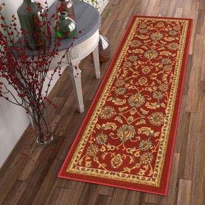 Kings Court Tabriz Red Indoor/Outdoor Area Rug Rug Size: Runner 2 x 7