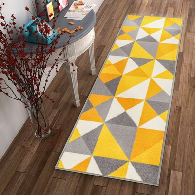 Vector Yellow Indoor/Outdoor Area Rug Rug Size: Runner 18 x 5