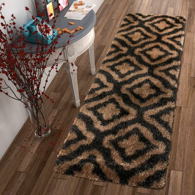 Feather Jesse Trellis Black Area Rug Rug Size: Runner 27 x 73