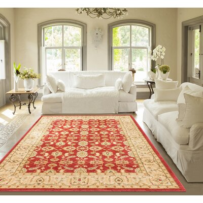 Allerdale Red/Cream Area Rug Rug Size: 53 x 73