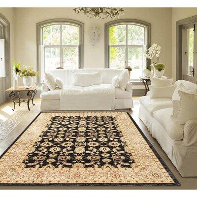 Allerdale Oriental Black/Ivory Area Rug Rug Size: 53 x 73