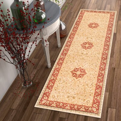 Allerdale Ivory/Red Area Rug Rug Size: Runner 23 x 73