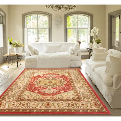 Allerdale Red/Ivory Area Rug Rug Size: 710 x 910