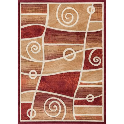 Brooklyn Springfield Modern Abstract Scrolls Red Area Rug Rug Size: 710 x 910