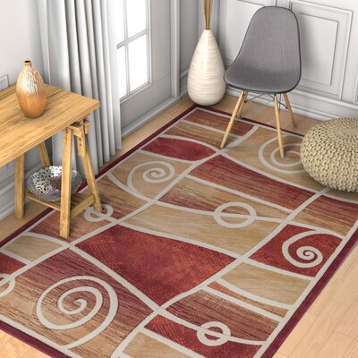 Brooklyn Springfield Modern Abstract Scrolls Red Area Rug Rug Size: 53 x 73