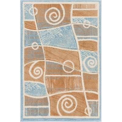 Brooklyn Springfield Modern Abstract Scrolls Blue Area Rug Rug Size: 53 x 73
