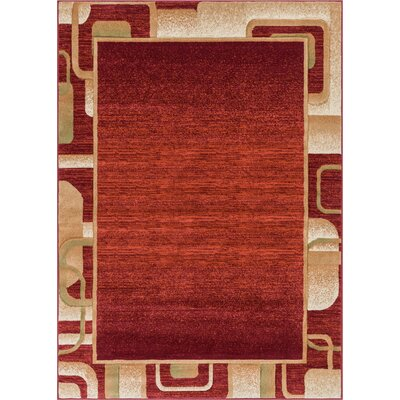 Atherton Modern Geometric Border Red Area Rug Rug Size: 2 x 3