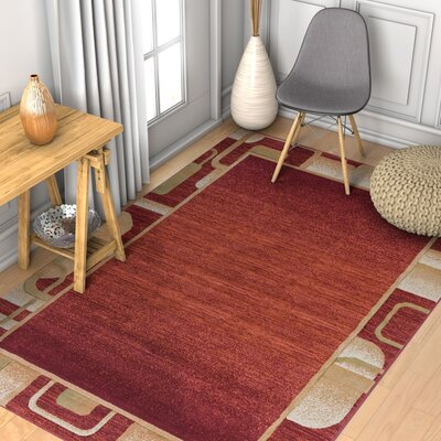 Brooklyn Mosley Modern Geometric Border Red Area Rug Rug Size: 53 x 73