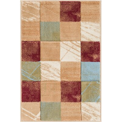 Atherton Modern Power Loom Geometric Squares Red Area Rug Rug Size: 53 x 73