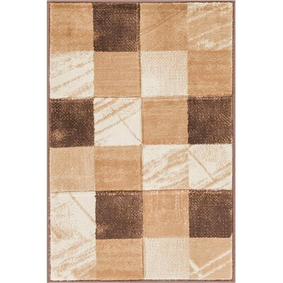 Atherton Modern Geometric Squares Brown Area Rug Rug Size: 53 x 73