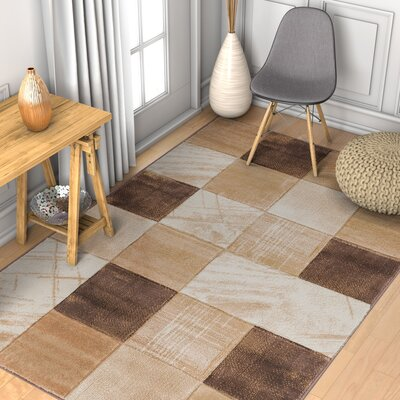 Brooklyn Taylor Modern Geometric Squares Brown Area Rug Rug Size: 710 x 910