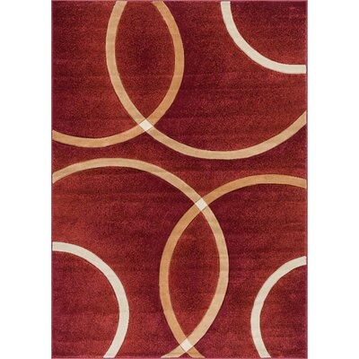 Bernard Chester Circles Modern Geometric Red Area Rug Rug Size: 2' x 3'