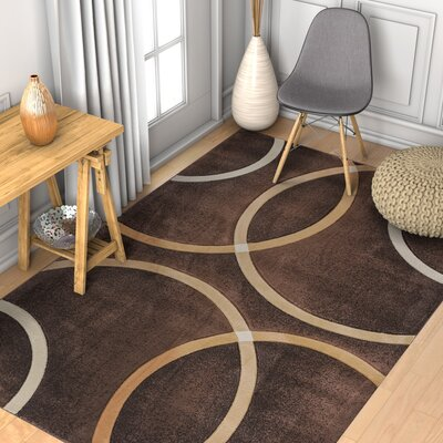Brooklyn Chester Circles Modern Geometric Brown Area Rug Rug Size: 53 x 73