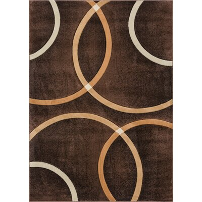 Bernard Chester Circles Modern Geometric Brown Area Rug Rug Size: 7'10