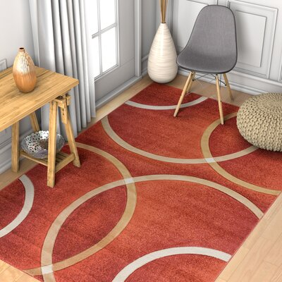 Brooklyn Chester Circles Modern Geometric Orange Area Rug Rug Size: 33 x 5