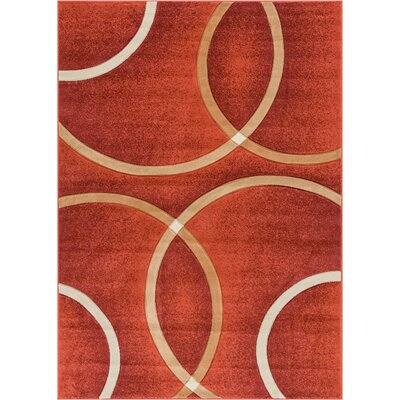 Bernard Chester Circles Modern Geometric Orange Area Rug Rug Size: 710 x 910