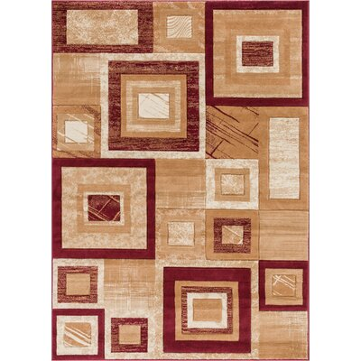Atherton Modern Stain Resistant Geometric Squares Red Area Rug Rug Size: 53 x 73