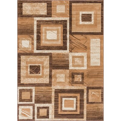 Atherton Modern Geometric Squares Brown/Beige Area Rug Rug Size: 53 x 73