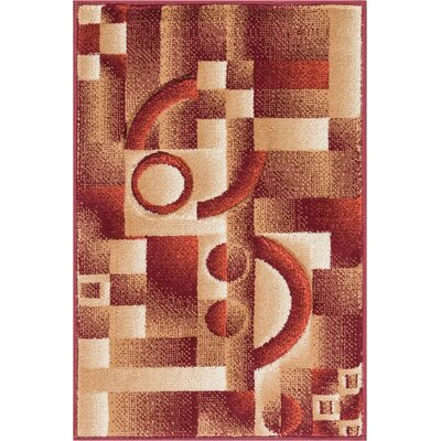 Atherton Modern Geometric Squares Red Area Rug Rug Size: 53 x 73