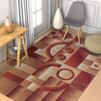 Brooklyn South Street Modern Geometric Squares Red Area Rug Rug Size: 53 x 73